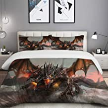 LUNASVT 3PC Bedding Set Three Headed Fire Breathing Dragon Large Monster Gothic Theme 1 Duvet Cover with 2 Matching Pillowcases Dorm Room Decor Twin/Twin XL