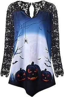 Casual T-Shirt Women Fashion Halloween Pumpkin Lace Patchwork Blouse Autumn V-Neck Asymmetrical Tops Blouse