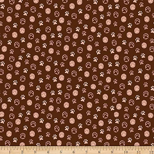 Fabri-Quilt Paintbrush Studio s Hats for Cats Paw Prints Brown, Fabric by the Yard