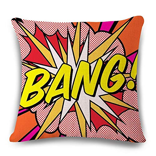 Throw Pillow Covers Super Hero Throw Pillow Case Cushion Cover Comic Book Exclamation Pattern Decorative Square Pillowcase Best Gift (Bang 01)
