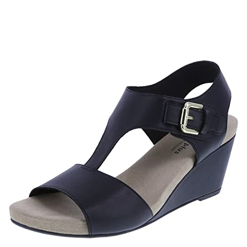 9e2e85069ee Predictions Comfort Plus Black Women s Vanna Mid-Wedge Sandal 8.5 Wide