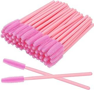 100 Pcs Silicone Mascara Wands Disposable Eyelash Brushes for Extensions Lash Applicators Makeup Tool Kit, Pink