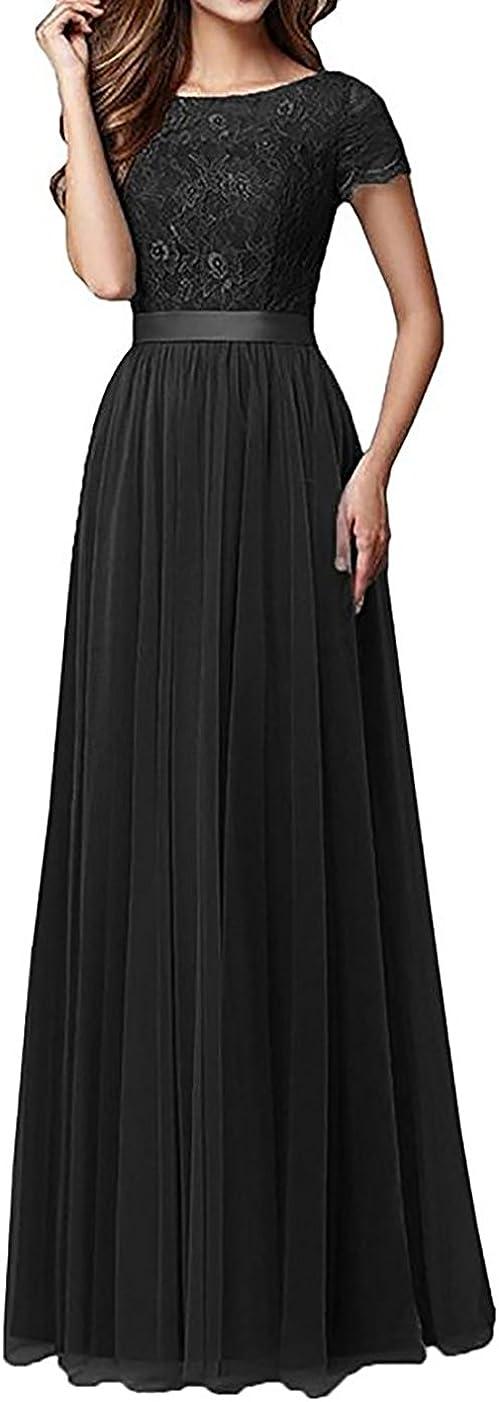 Women's Lace Tulle Bridesmaid 引き出物 Dress Maxi 定番キャンバス Short Sleeve Formal Eve