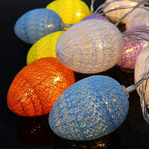 Cotton Ball string Fairy Lights 4.8M 30 LED USB Egg Cotton Ball LED String Lights Colorful indoor Xmas Easter Wedding Party Starry Wall Light Home Christmas Decoration (colorido)