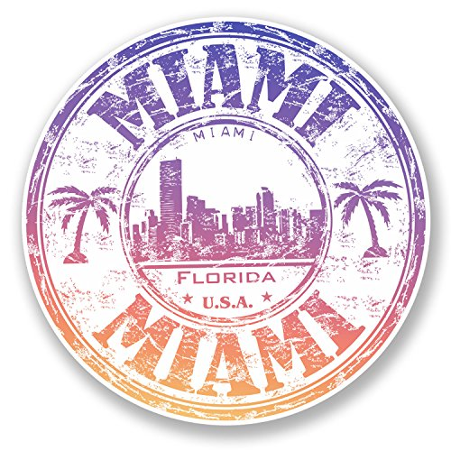 2 x 10cm Miami Florida USA Vinyl Sticker Luggage Travel Laptop Helmet USA #6510 (10cm x 10cm)