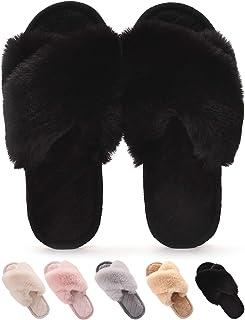 Gainsera Pantofole Peluche Donna Invernali Pantofole Pelliccia Comode Morbido Antiscivolo Ciabatte da Casa