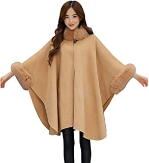 Ausexy Women Fashion Cardigan Cloak Loose Elegant Casual Woollen Fur Collar Coat Jacket Button Winter Warm Outwear Parka Women Clothing Tops
