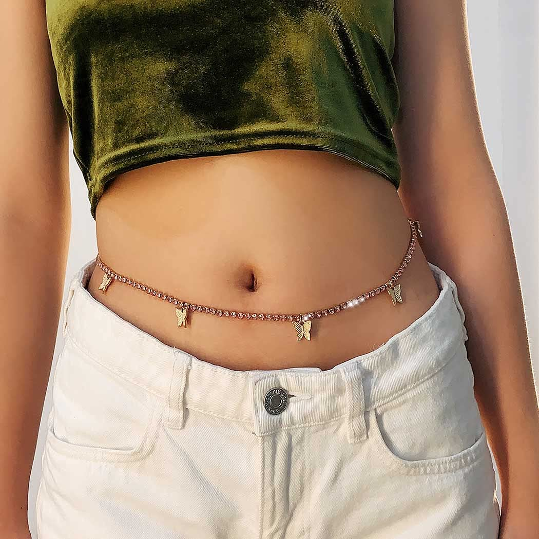 Dresbe Boho Butterfly Body Chains Rhinestones Belly Waist Chain Party Body Jewelry Accessories for Women and Girls BC027 (Gold)