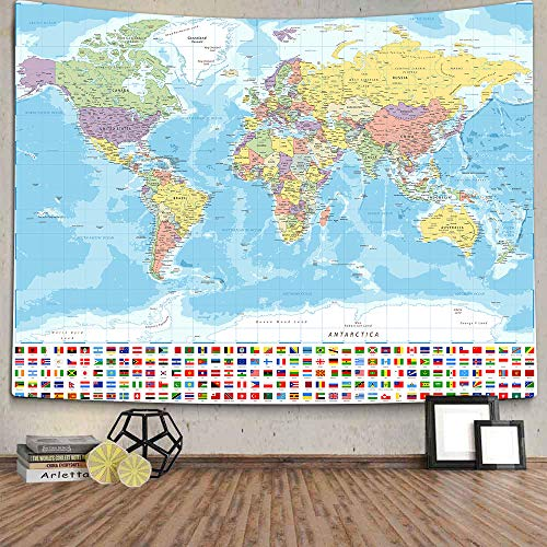 World Map Tapestry Wall Hanging for Kids Student, World Map with Detailed Major and Cities National Flag Tapestry Educational Tapestry for Bedroom Living Room Dorm Home Decoration 60 x 51Inch