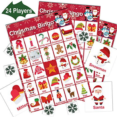 V-Opitos Christmas Bingo Game, 24 Players - Christmas Party Games for Kids and Adults, Large Size Xmas Bingo Card for Family/Class/Group Activities