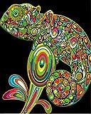 YUHHGFK Pintar por Numeros Camaleón Verde Pintura al óleo de Bricolaje con Pinceles y Pinturas - para Adultos, niños y Principiantes Decoración del hogar - 40 X 50 cm (con Marco de Madera)