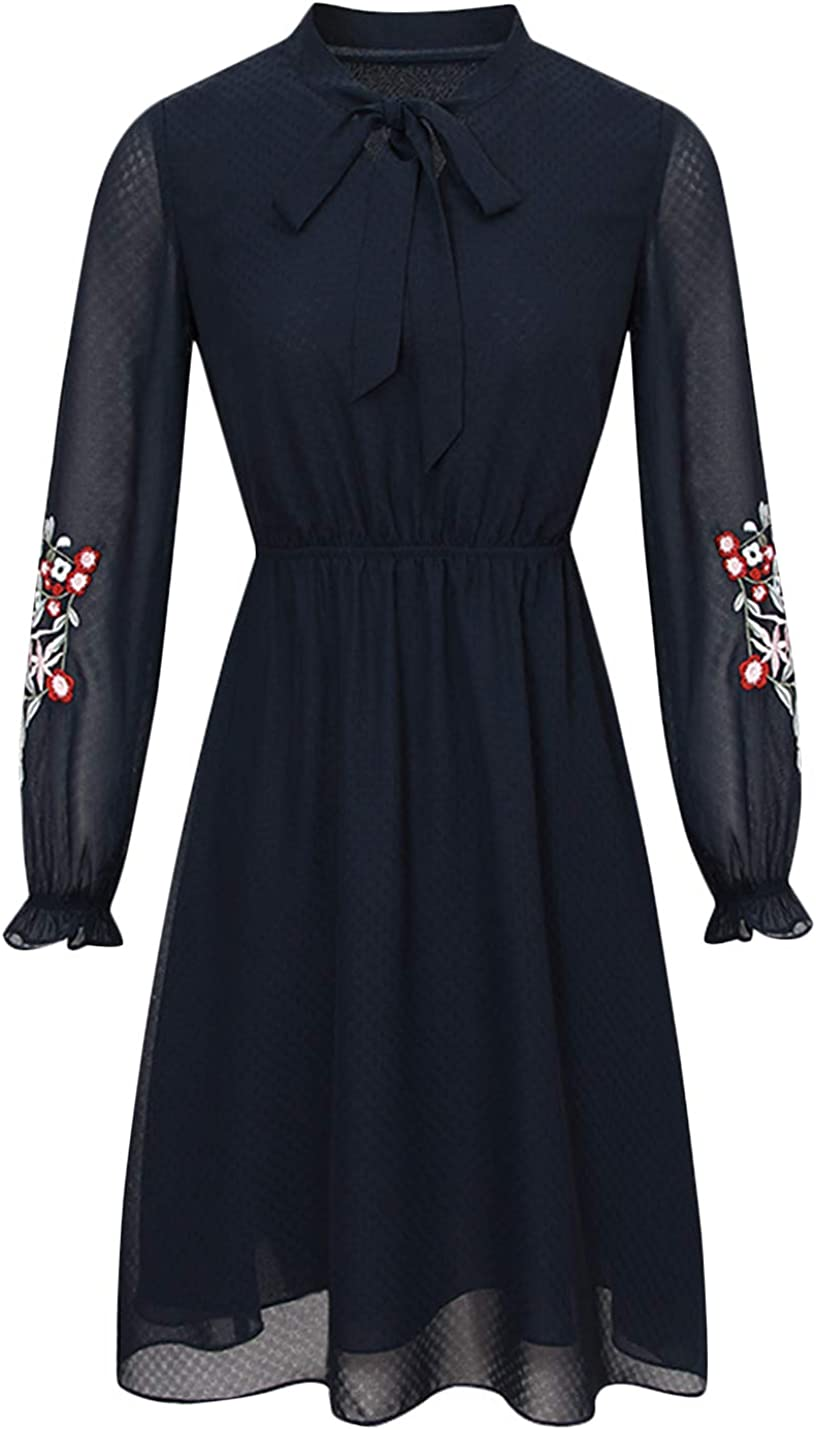 Uaneo Women's Classic Tie Neck Floral Embroidered Chiffon Dress (Large, Blue)