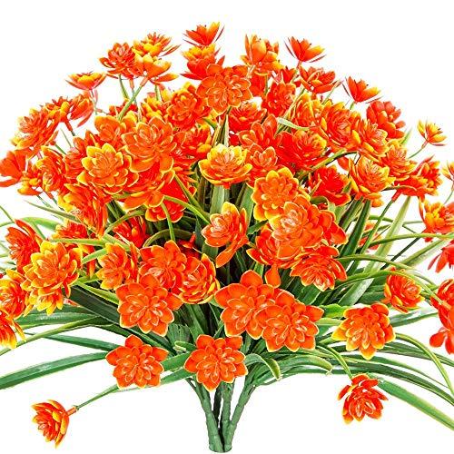 Chapter Seven 4 stücke Künstliche Rote Narzissen Blumen Gefälschte Sträucher UV Beständig Faux PflanzenKunststoff Büsche Indoor Outdoor Home Office Garten Hochzeit Decor(Rote Narzissen)