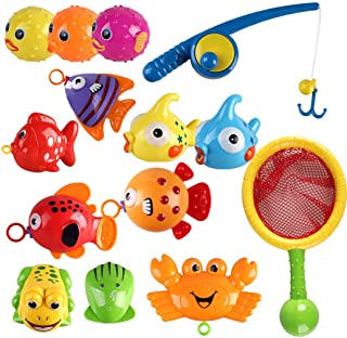 Coxeer 15PCS Fishing Game Toy Set Creative Magnetic Interactive Toy Bathtub Toy for Kid