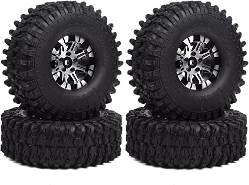 """4x 1.9/"""" Air-filled Rubber Tire Red Beadlocks Rings for 1:10 Crawle Car"""
