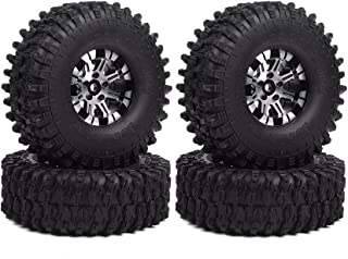 INJORA 120MM Tires & Metal Alloy Beadlock Wheels for 1/10 RC Crawler,1.9 inch Wheel & Tires Set for Traxxas TRX4 Axial SCX10 D90
