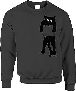 Funny Cute Cat Jumper Black Kitten in Pocket Sweatshirt