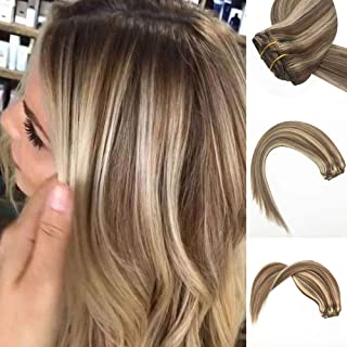 Komorebi Highlight Hair Extensions Clip in Human Hair Extensions Medium Brown Mix Blonde Color Double Weft Real Hair 7pcs/70g 16inch