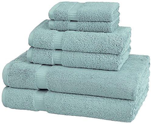 Pinzon Organic Cotton Bathroom Towels, 6 Piece Set, Spa Blue