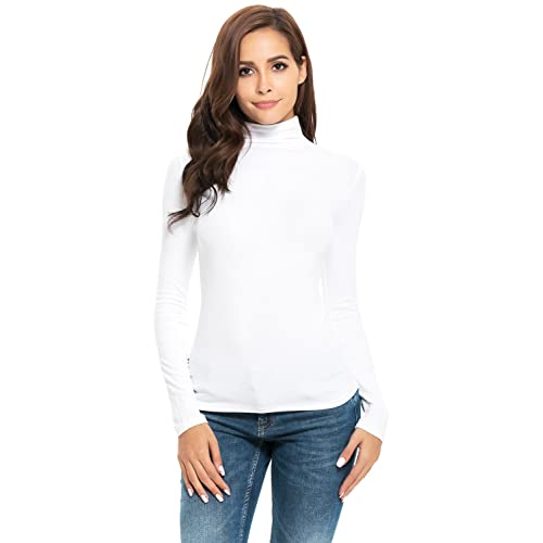 87858c5a Women's Basic Long/Short Sleeve High Turtle Mock Neck/Crew Neck Slim Fit  Rayon