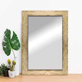 Art Street Modern Warnish Wall Decorative Mirror Golden Color 16 x 20 Inch, Outer Size 19 x 23 Inch