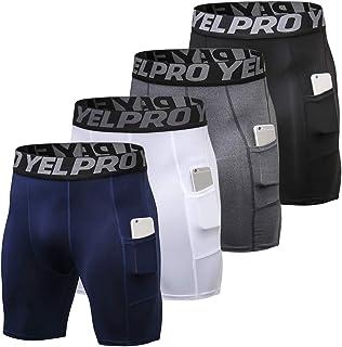 4 Packs Men Compression Shorts Active Workout Underwear with Pocket