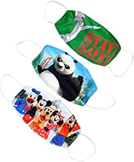 SSARA Double Layer Kids Cartoon Printed Face Mask for 2-5 Years (Pack of 3)