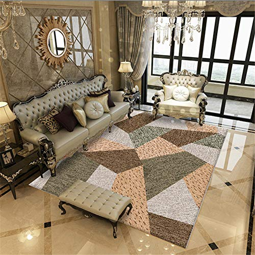 La Alfombra alfombras de habitacion Infantil Alfombra Lavable con diseño geométrico Amarillo marrón fácil de Limpiar Comoda Salon alfombras habitacion Matrimonio 60*90CM