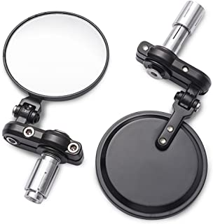 MICTUNING Universal Motorcycle Mirrors – 3 Inch Round Folding Bar End Side Mirror..