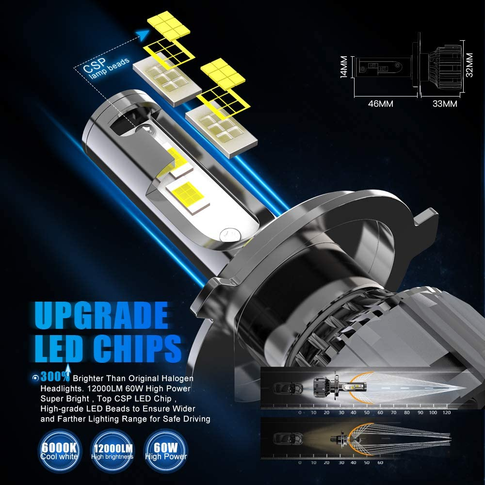 60W 12000 Lumens Super Bright 6000K CSP Chips Hi//Lo Conversion Kit AOLEAD H4//9003//HB2 LED Headlight Bulbs