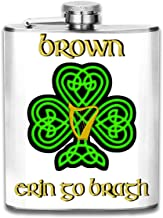 TPSXXY Brown Irish with Celtic Knot Adult Stainless Steel 7 Oz Hip Flask Men Women Silver Alcohol Whiskey Liquor