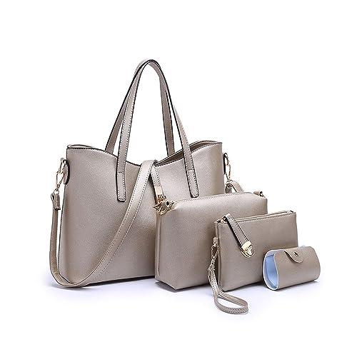 6a197eabf86 SIFINI Women Fashion PU Leather Handbag+Shoulder Bag+Purse+Card Holder 4pcs  Set