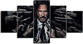 LIUZYU Wall Art Posters &Prints Painting On Canvas 5 Pieces Modern HD Printed Wall Art Canvas Pictures John Wick Painting Poster Home Decoration for Living Room Artworks-A Frameless