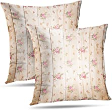 GANKE Shabby Chic Decorative Pillow Covers, Couch Cushion Covers Digital Scrapbook Light Brown and Flowers Texture Shabby Chic Set of 2 Throw Pillow Covers 18x18 Inch,Pillow Case,Digital Scrapbook