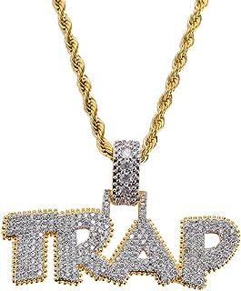 KMASAL Jewelry - Collana con ciondolo a forma di bolla, in oro 18 carati, con micropavé di diamanti sintetici, per uomo e ...