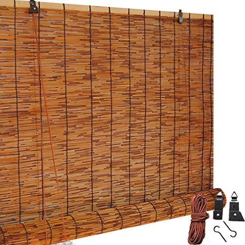 Retro Verkohlung Schilf Vorhang Bambus Jalousie,Holz Bambusrollos,Raffrollo Jalousette,Filter Roll Up Heben Blind,Handgewebte,Sonnenschirm/Wasserdicht,für Garten/Balkon,Anpassbar(90x180cm/36x71in)
