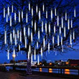 Meteor Shower Rain Lights - 8 Tubes 192 LEDs for Christmas Falling Rain Lights Street Trees Halloween Decoration Holiday Wedding | White