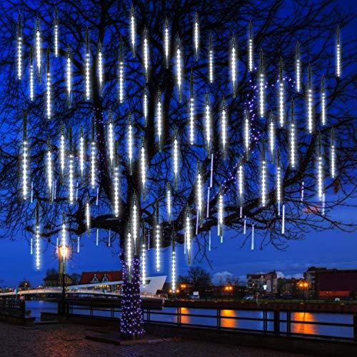 Meteor Shower Rain Lights - 8 Tubes 192 LEDs for Christmas Falling Rain Lights Street Trees Halloween Decoration Holiday Wedding | White