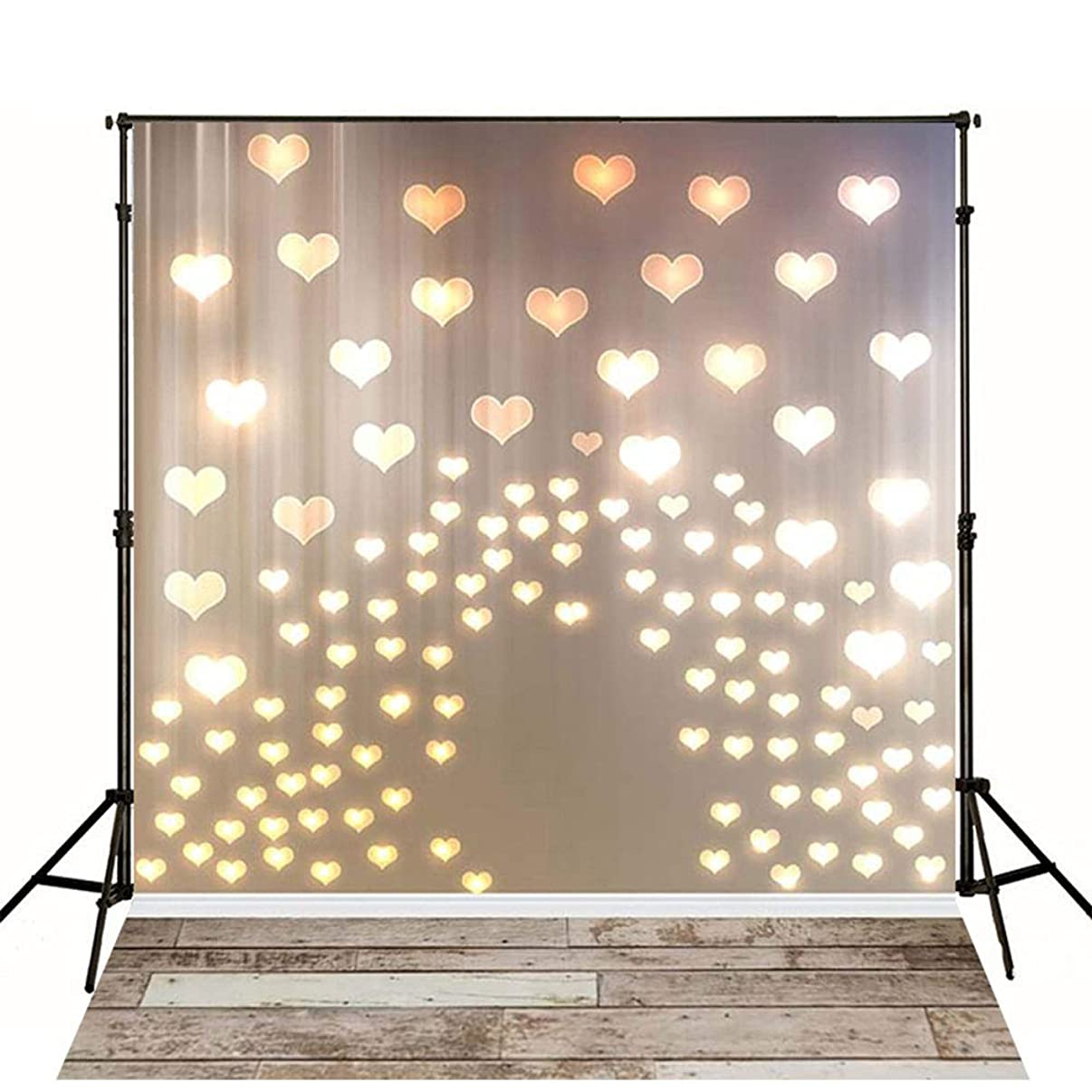 MEHOFOTO 5x7ft Newborn Photography Backdrops Wood Floor Lighting Love Heart Photo Background for Valentine's Day Studio Props