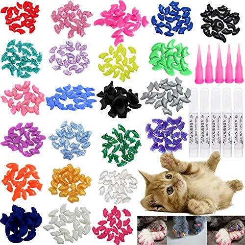 VICTHY 100pcs Cat Nail Caps, Cat Claw Caps Covers with Glue and Applicators Size Medium