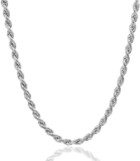 """Orabelle Jewelers Sterling Silver .925 Italian Diamond-Cut Rope Chain 1.5MM - 4.5MM, 16""""-30"""", 925 Sterling Silver Braided ..."""