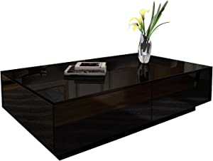 Modern Rectangle Coffee Tea Table Black High Gloss Coffee Table with 4 Storage Drawers for Living Room Home Office Furniture