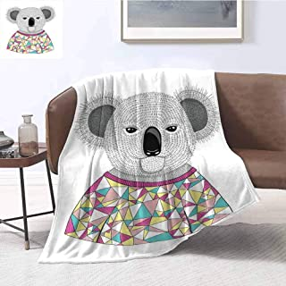 Luoiaax Koala Luxury Special Grade Blanket Hipster Koala with Colorful Polygonal Shirt with Angular Triangles Australian Animal Multi-Purpose use for Sofas etc. W70 x L90 Inch Multicolor
