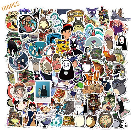 100PCS Studio Ghibli Stickers Hayao Miyazaki Anime Stickers Waterproof Vinyl Stickers Skateboard Luggage Stickers for Kids Teens Adults for Water Bottles Laptop Phone