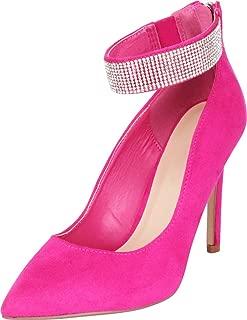 Cambridge Select Women's Pointed Toe Rhinestone Ankle Strap Dress Pump