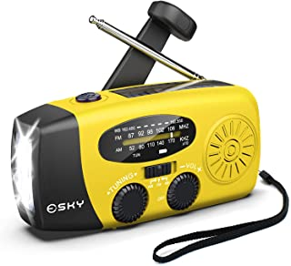 Esky [Upgraded Version] Portable Emergency Weather Radio Hand Crank Self Powered AM/FM/NOAA Solar Radios with 3 LED Flashl...
