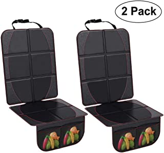 Wellkool Car Seat Protectors,2 Pack Large Auto Car Seat Cover Under Baby Child Safety Carseat With Organizer Pockets, Thick Padding Waterproof Non-slip Vehicle Seat Mat Protect Leather Seats