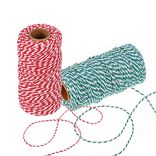 BBTO 2 Pieces Christmas Twine 2 mm Cotton String for Gift Wrapping, Arts Crafts 656 Feet Totally (Multicolor B)