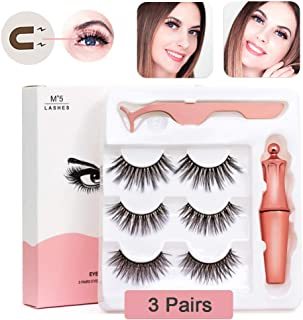 Magnetic Eyelashes with Eyeliner Natural Look Eyelash Kit Liner Applicator Tool Set Eye Lash Gorgeous Waterproof 5 Magnets in Bold Black 6 pcs Prime Length Handmade 3D Aromas