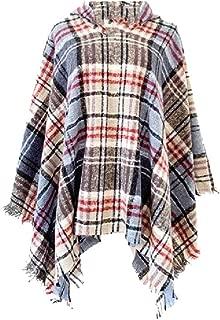 neveraway Womens Hood Fall Winter Warm Poncho Coat Plaid Fringe Wrap Scarves